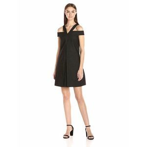Laundry Shelli Segal Twill Cold Shoulder Dress